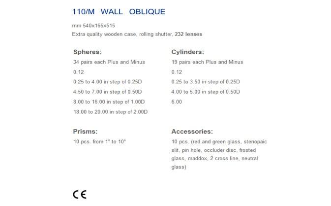 KASETA OKULISTYCZNA CIOM 110/M WALL OBLIQUE – 232 soczewki full