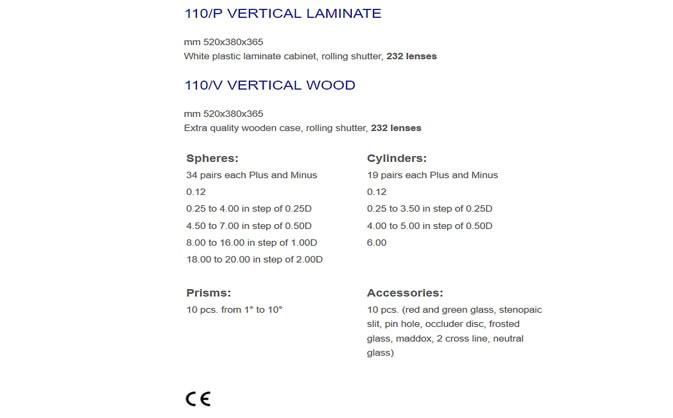 KASETA OKULISTYCZNA CIOM 110/P VERTICAL WOOD- 232 soczewki full