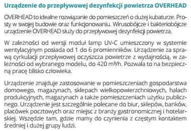 UVC-MED OVERHEAD dezynfekcja sterylizacja full
